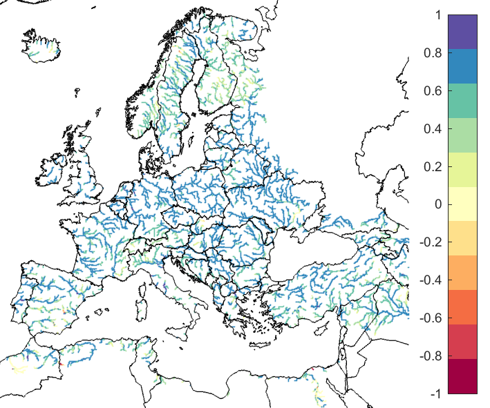 Figure 1. EFAS CRPSS at lead-time 1 day for March 2019, for catchments >2000km2. The reference score is persistence.
