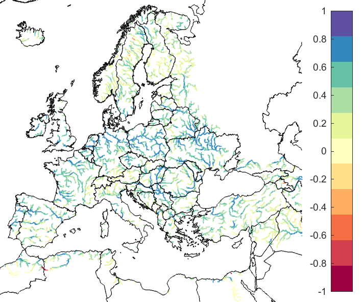 Figure 2. EFAS CRPSS at lead-time 3 days for March 2019, for catchments >2000km2. The reference score is persistence.