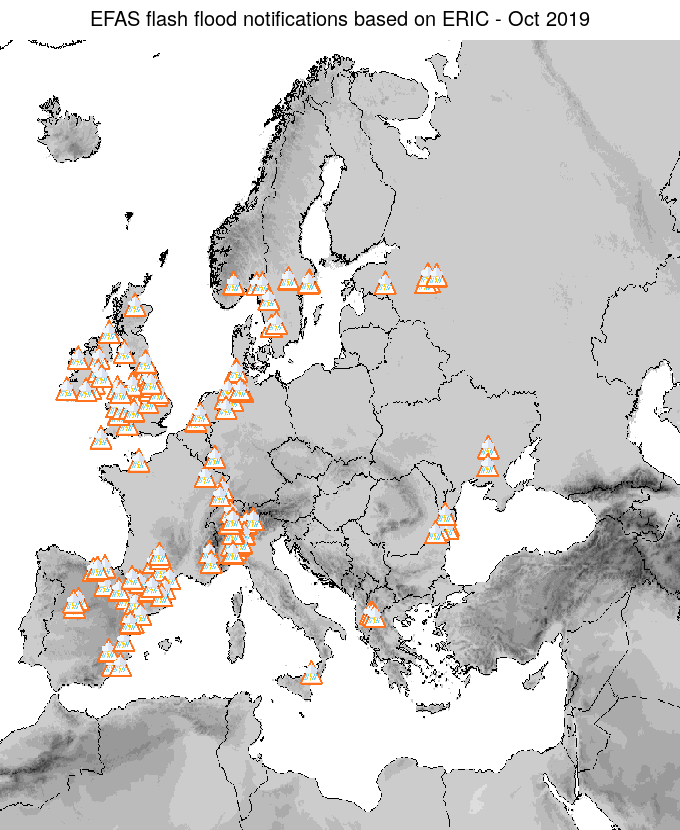 Figure 2. EFAS flash flood notifications sent for October 2019