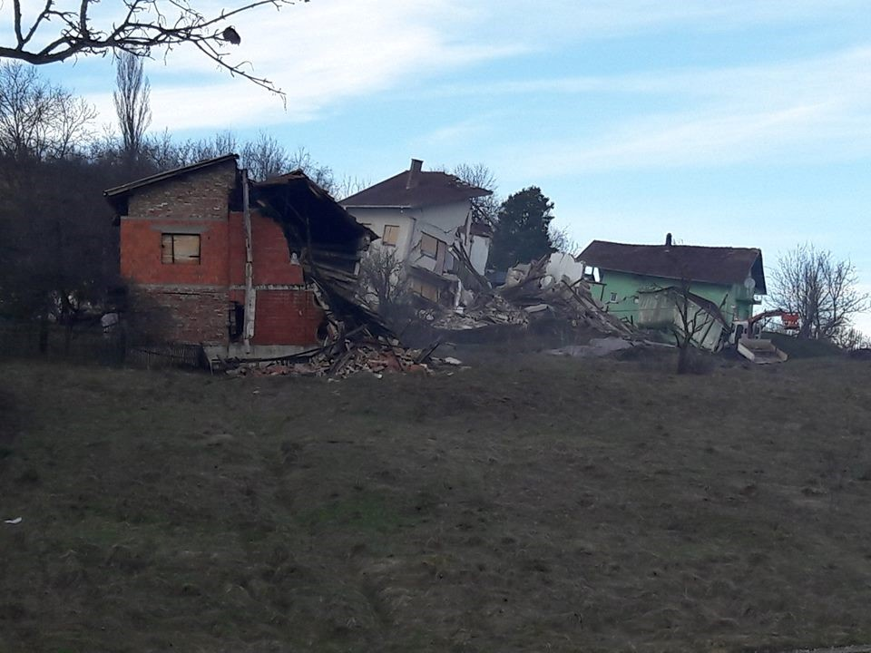 Landslide damage in Hrvatskoj Kostajnici, Sisak-Moslavina County, Croatia, 13 March 2018. Credit: National Protection and Rescue Directorate Croatia (DUZS)