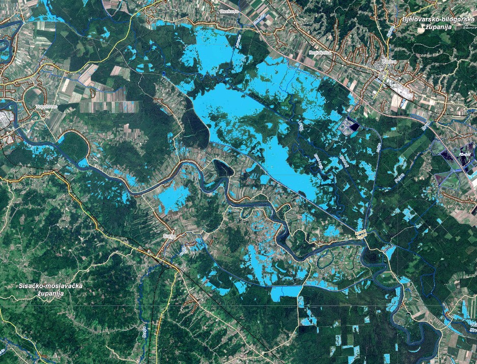 Floods in Kutina, Sisak-Moslavina County, Croatia, 24 March 2018. Credit: Copernicus