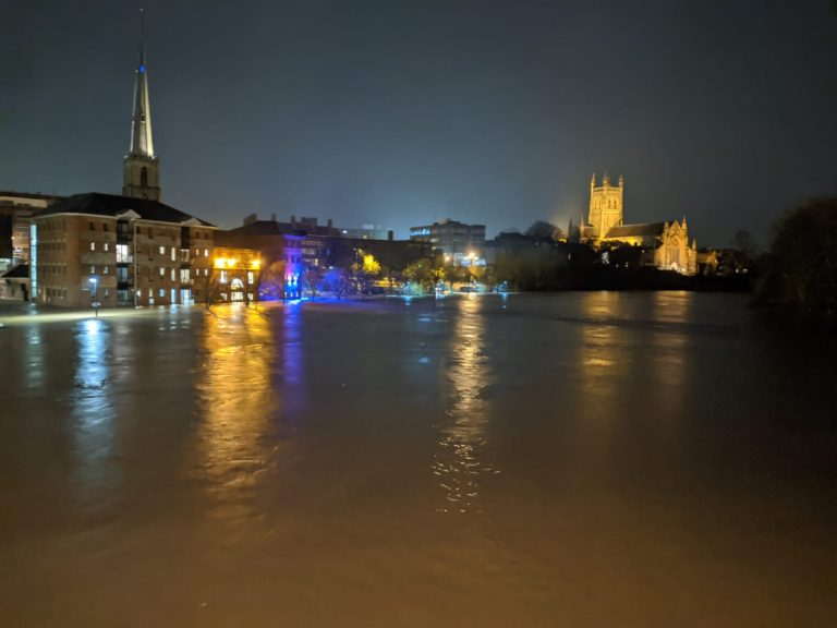 Flooding in Worcester, England, after Storm Dennis, February 2020.  Credit: West Mercia Police