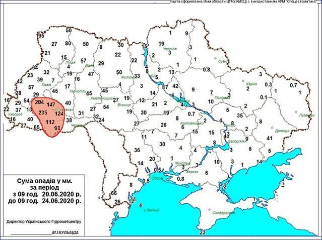 Rainfall map, June 2020 Ukraine. Source: Ukrainian Hydrometeorological Center