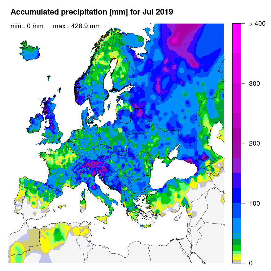 Figure 1: Accumulated precipitation [mm] for July 2019.