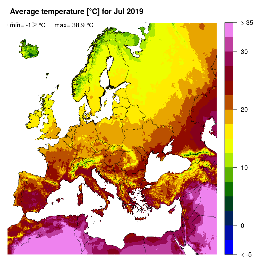 Figure 3: Mean temperature [°C] for July 2019.