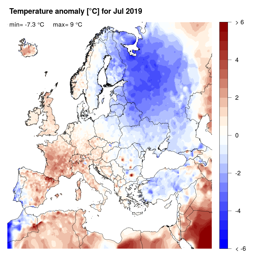 Figure 4: Temperature anomaly [°C] for July 2019, relative to a long-term average (1990-2013). Blue (red) denotes colder (warmer) temperatures than normal.