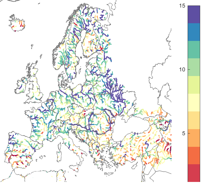 Figure 1. Number of weeks before the CRPSS goes below 0.1 for all the points in Europe (left) and for all major river points (area >=2000km2). Reference forecast was persistence. Blue colour indicates a good performance, and red colour indicates a less good performance.