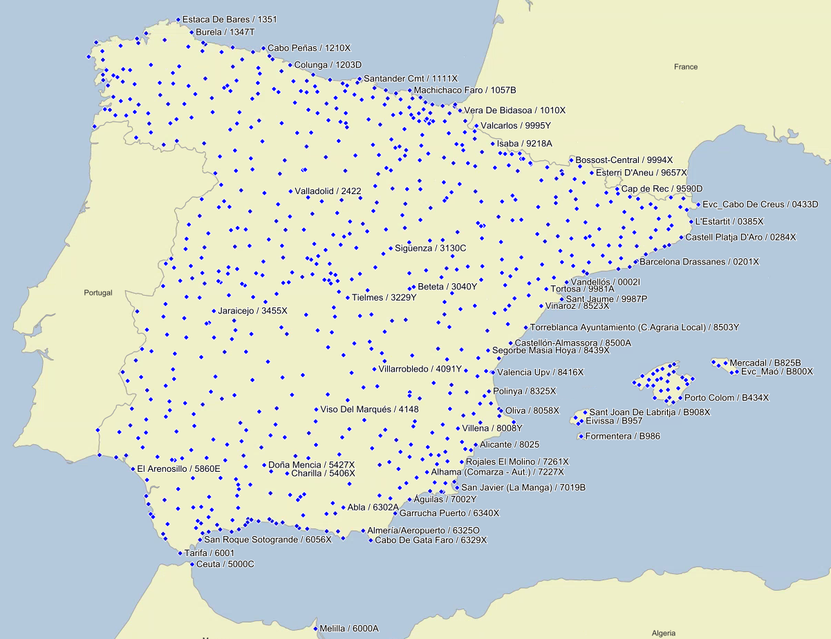 AEMET stations in Spain