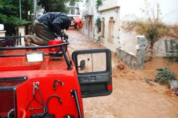 Greece Fire Service respond to floods 30 September 2018. Credit: Greece Fire Service