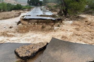 Massive floods wiped out bridges and roads in Valencia Province 12 to 13 September 2019. Credit: Diputacio de Valencia (Provincial Council of Valencia)