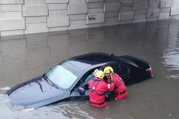 Flood rescue in Blackpool, Lancashire, Northern England, after heavy rain from Storm Ciara, 09 February 2020. Credit: South Shore Fire Station Lancashire