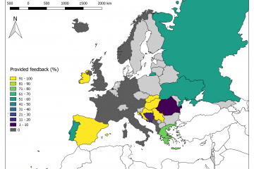Summary: Percentage of EFAS Formal Flood Notifications for which feedback was provided for 2019, aggregated per country. EFAS partner countries for which no Formal Flood Notifications were issued during 2019 are shaded in grey.
