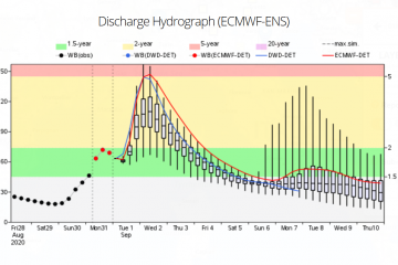 Example of the 6-hourly water balance and ECMWF-ENS driven medium range forecasts available through EFAS v4.0