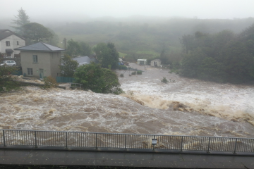 Flooding from the Owenglin river in Clifden, 02 September 2020. Credit: Elena Vaughan, published with permission