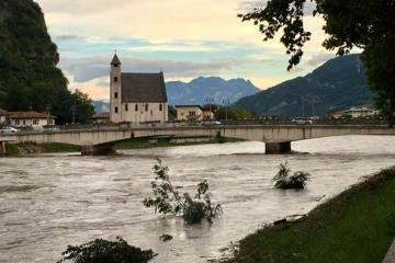 The river Adige during the 29-30 August flood event. Credits: https://www.trentotoday.it/cronaca/maltempo-adige-piena.html