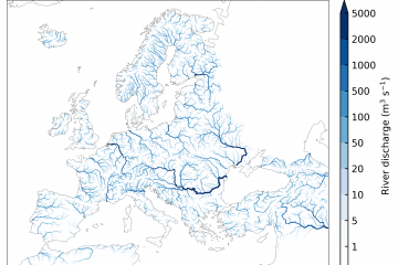 Mean discharge of rivers and streams in EFAS 1991-2019